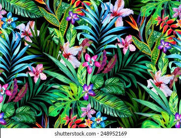 Amazing seamless tropical pattern. Exotic hibiscus and Palm design for fashion or interior. Flower bouquets.