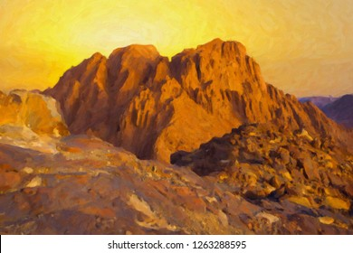 Amazing Sunrise at Sinai Mountain Moses, Beautiful view from the mountain, imitation oil on canvas