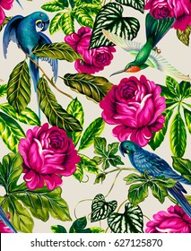 amazing tropical pattern with blue macaw parrots.  vibrant roses, ficus, palms, and other exotic plants in allover seamless design. For fashion, upholstery, interior, wallpaper. vintage botanical.