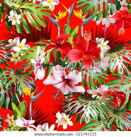 5a7cefe5 Amazing tropical print hawaiian shirts and textile floral design. Floral  pattern tropical background seamless on a red background with blossom  hibiscus and ...