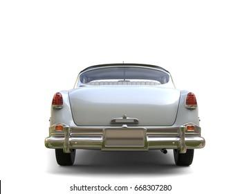 Amazing vintage car - white paint - back view - 3D Illustration