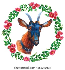 Amazing watercolor goat in rose frame