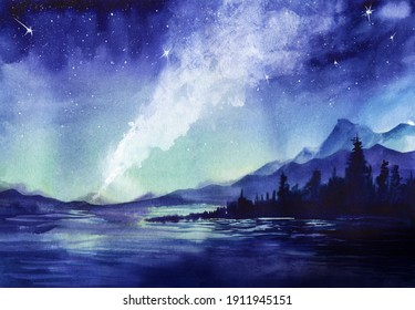 Amazing watercolor landscape of beautiful night sparkling with billions of stars. Milky way and shining constellations above calm lake surrounded blurry silhouettes of mountains and wood. Starry night