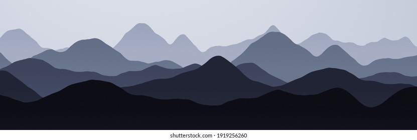 amazing wide angle of hills slopes in the fog digital drawn texture or background illustration