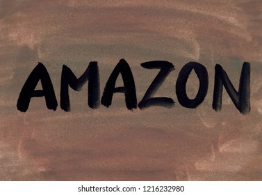 amazon concept word background gouache paint
