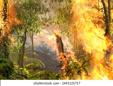 Amazon rainforest burning, on fire, out of control, enhancing climate change, 3d render painting,