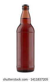 Amber bottle Bomber with liquid. 22oz 660 ml (651 ml) volume. Isolated high resolution 3D render on a white