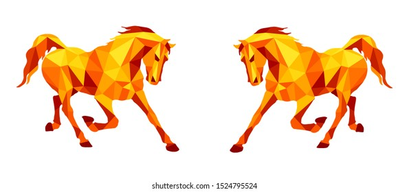 amber color, running stallion Pacer isolated images on white background in low poly style