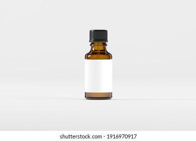Amber Dropper Bottle Mockup 3D Illustration