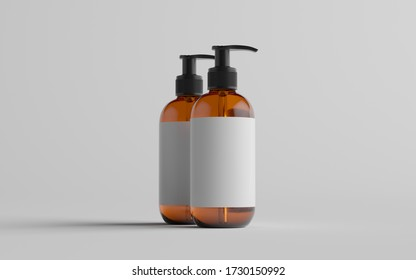 Amber Glass Pump Bottle Mock-Up - Liquid Soap, Shampoo Dispenser - Two Bottles. Blank Label. 3D Illustration