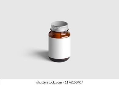 Amber Supplement Bottle & Box Mockup on light grey background. 3D illustration. Mockup template ready for your design.