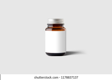 Amber Supplement Bottle & Box Mockup on light grey background. 3D illustration. Mockup template ready for your design.