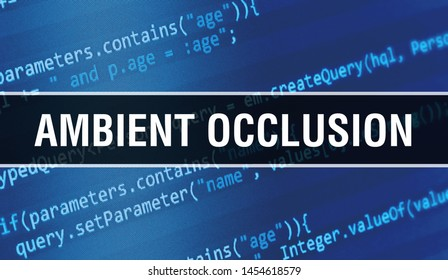 Ambient Occlusion concept with Random Parts of Program Code. Ambient Occlusion with Programming code abstract technology background of software developer and Computer script. Ambient Occlusion
