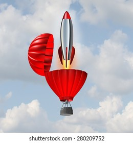 Ambition concept and building momentum symbol of business success as a hot air balloon opening up with an emerging rocket ship blasting off for accelerated strategy to reach an objective.