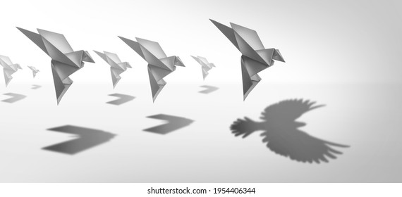 Ambitious leadership and leader vision or leading ambition as a business symbol for innovative imagination and success as a paper bird casting a shadow of wings in a 3D illustration style.