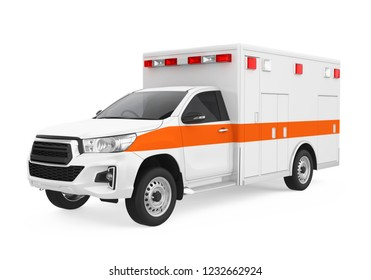 Ambulance Car Isolated. 3D rendering