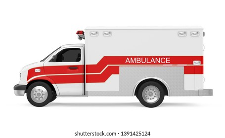 Ambulance Car Isolated (side view). 3D rendering