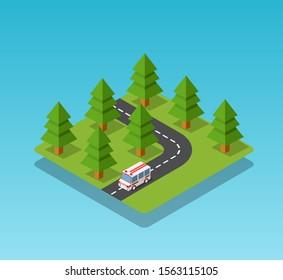 Ambulance car isometric avto van