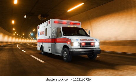Ambulance car rides through tunnel with warm yellow light 3d rendering