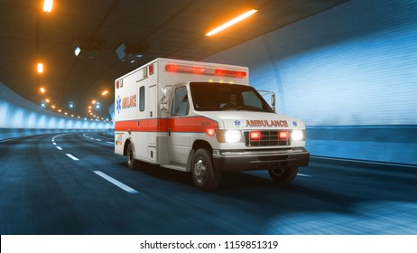 Ambulance car rides trough tunnel warm yellow light 3d rendering