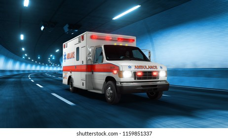 Ambulance car rides trough tunnel with cold blue light style 3d rendering