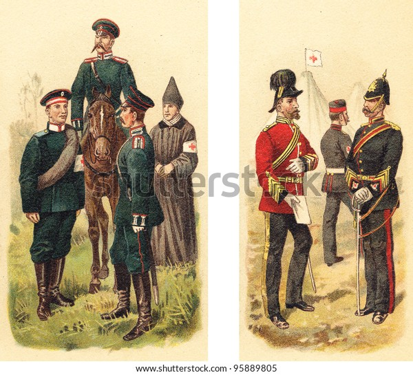 Ambulance corps Russia (left) and England (right) / Vintage illustration from Meyers Konversations-Lexikon 1897