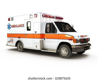 Ambulance on a white background, part of a first responder series,lighted night version also available