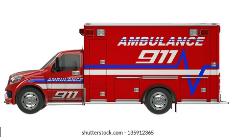 Ambulance: Side view of emergency services vehicle over white. Custom made and rendered