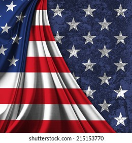 America flag fabric and  stars wall background
