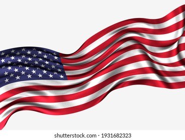 America Flag, Isolated on white background, 3D illustration