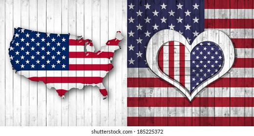 America flag map heart and wood background