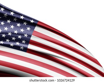 America flag of silk with copyspace for your text or images and white background-3D illustration
