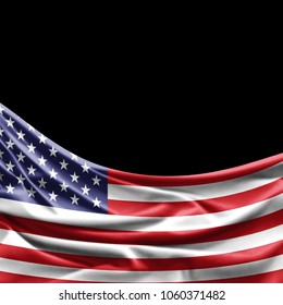 America flag of silk with copyspace for your text or images and black background -3D illustration