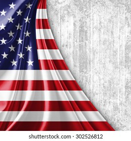 America flag of silk with copyspace for your text or images and wall background