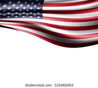 America  flag of silk and white background-3D illustration