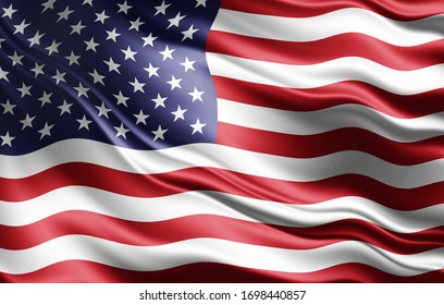 America flag of silk-3D illustration