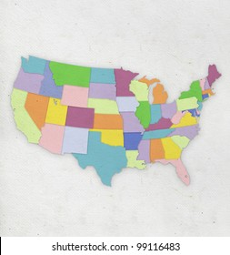 America map on hand made paper