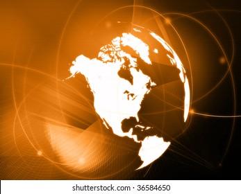 America map technology-style artwork