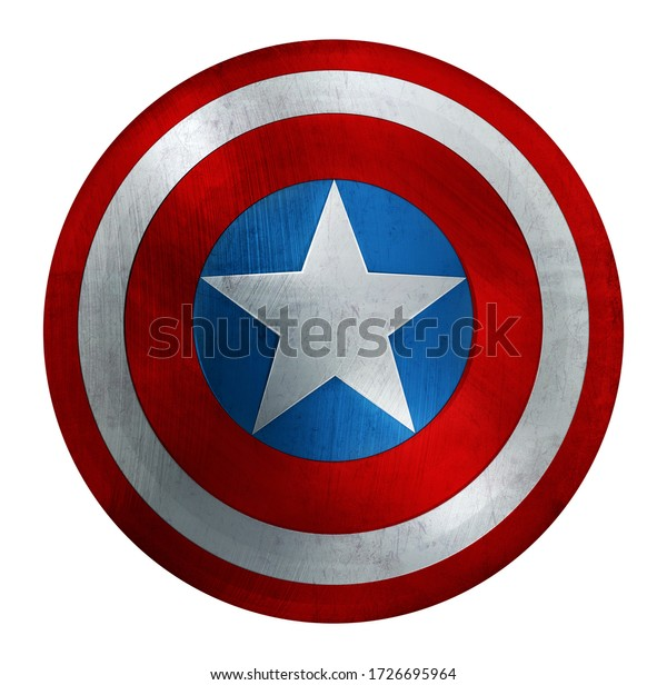 America Patriotic Metal Round Shield with Star and Blue, Red and white Circles. 3D Illustration with Clipping Path.