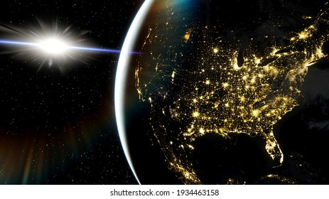 america from space, usa view from satellite, usa cities from space 3d render