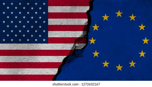 America United States VS Europian Union Flag