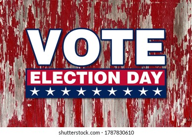 america vote election day graphic with white text and stars red box with faded red wood announcement background backdrop banner board campaign card illustration invitation poster sign