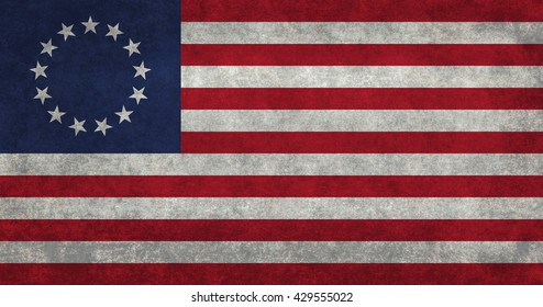 American 13 point historic flag often named the Betsy Ross flag, this version features vintage retro textures.