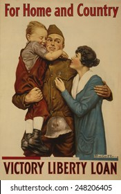 American 1918 WW1 poster of a soldier embracing a woman and child. Poster reads, 'For home and country - Victory Liberty Loan'.
