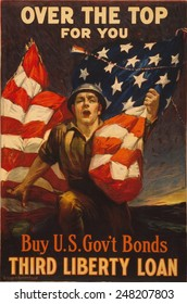 American 1918 WW1 poster of a soldier clutching an American flag. Poster reads Over the top for you - Buy U.S. gov't bonds, Third Liberty Loan.