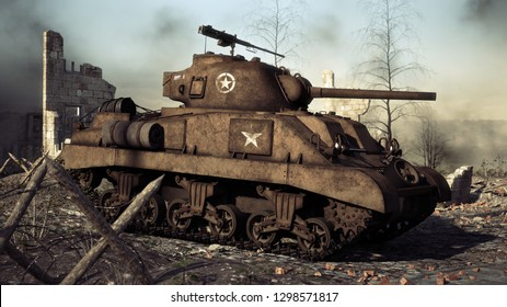 American allied medium tank stands ready on a World War II battlefield. 3d rendering