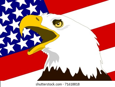 American bald Eagle with flag of the United States of America