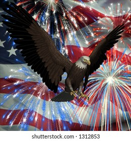 American Bald Eagle with the United States flag and fireworks in the background