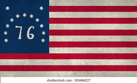 American Bennington 76 flag with worn distressed textures.