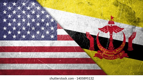 American and Brunei flags together in one image with some scratches and dirt on it giving it an old, worn out look
